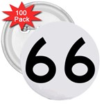 U.S. Route 66 3  Buttons (100 pack)  Front
