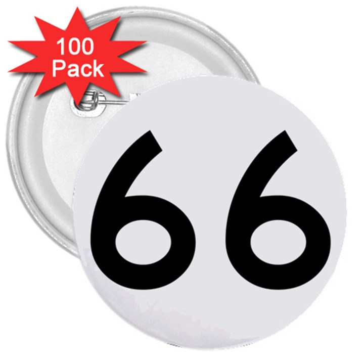 U.S. Route 66 3  Buttons (100 pack)