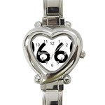 U.S. Route 66 Heart Italian Charm Watch Front