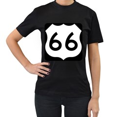U.S. Route 66 Women s T-Shirt (Black) (Two Sided)