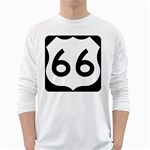 U.S. Route 66 White Long Sleeve T-Shirts Front