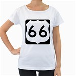 U.S. Route 66 Women s Loose-Fit T-Shirt (White) Front