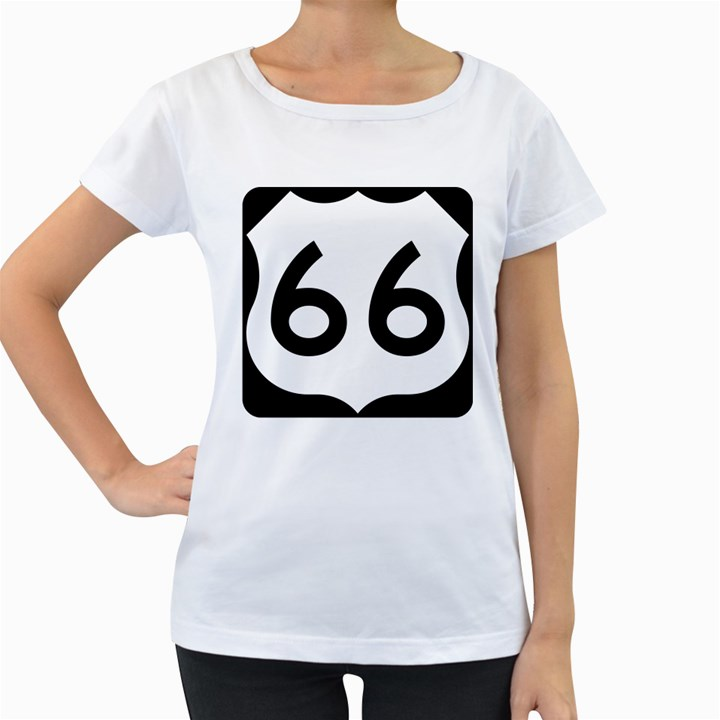U.S. Route 66 Women s Loose-Fit T-Shirt (White)