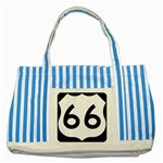 U.S. Route 66 Striped Blue Tote Bag Front
