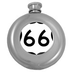 U.S. Route 66 Round Hip Flask (5 oz) Front