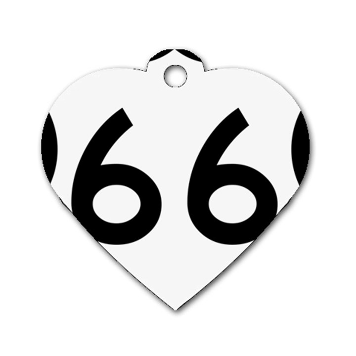 U.S. Route 66 Dog Tag Heart (One Side)