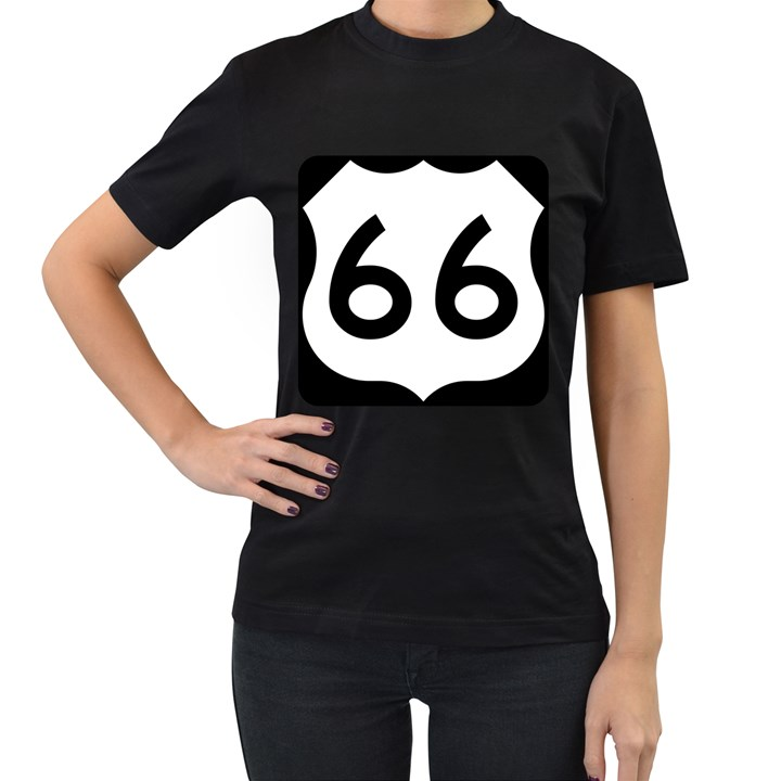 U.S. Route 66 Women s T-Shirt (Black)