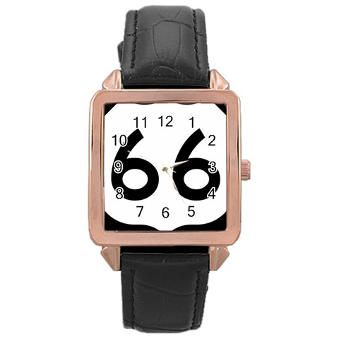 U.S. Route 66 Rose Gold Leather Watch