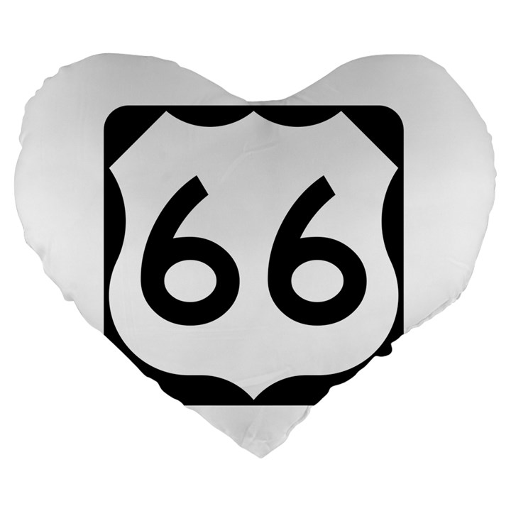 U.S. Route 66 Large 19  Premium Flano Heart Shape Cushions