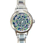 Power Spiral Polygon Blue Green White Round Italian Charm Watch Front