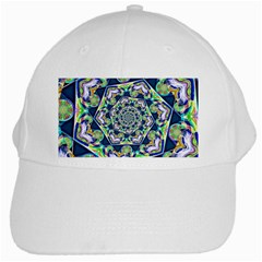 Power Spiral Polygon Blue Green White White Cap