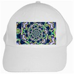Power Spiral Polygon Blue Green White White Cap Front
