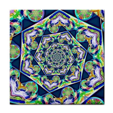 Power Spiral Polygon Blue Green White Tile Coasters