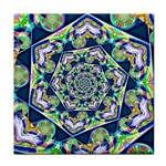Power Spiral Polygon Blue Green White Tile Coasters Front