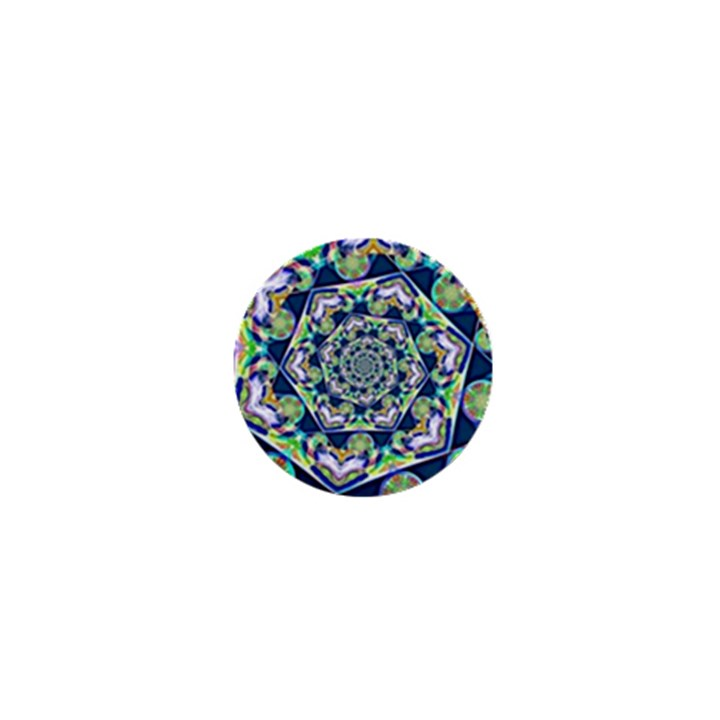 Power Spiral Polygon Blue Green White 1  Mini Magnets
