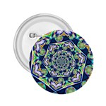 Power Spiral Polygon Blue Green White 2.25  Buttons Front