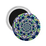 Power Spiral Polygon Blue Green White 2.25  Magnets Front