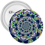 Power Spiral Polygon Blue Green White 3  Buttons Front