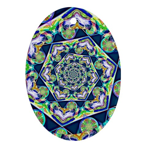 Power Spiral Polygon Blue Green White Ornament (Oval)