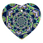 Power Spiral Polygon Blue Green White Ornament (Heart)  Front