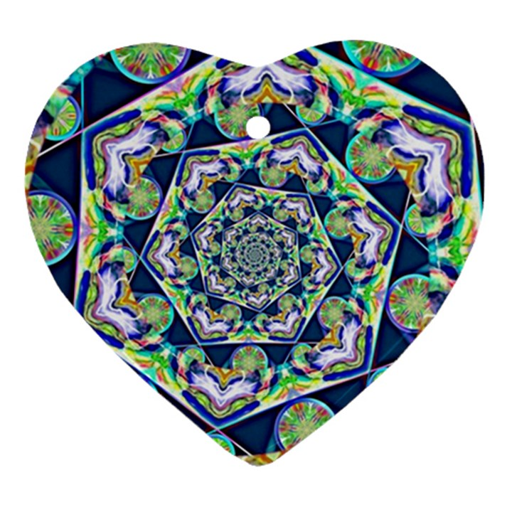 Power Spiral Polygon Blue Green White Ornament (Heart)