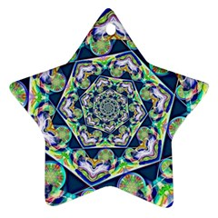 Power Spiral Polygon Blue Green White Ornament (Star)