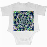 Power Spiral Polygon Blue Green White Infant Creepers Front