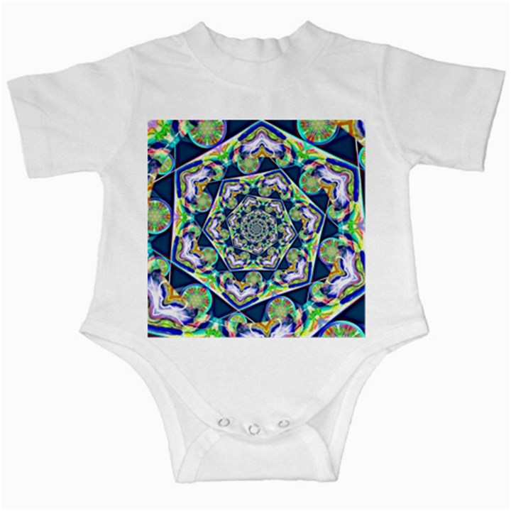 Power Spiral Polygon Blue Green White Infant Creepers