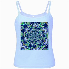 Power Spiral Polygon Blue Green White Baby Blue Spaghetti Tank