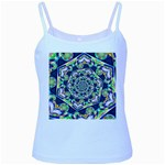 Power Spiral Polygon Blue Green White Baby Blue Spaghetti Tank Front