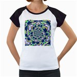 Power Spiral Polygon Blue Green White Women s Cap Sleeve T Front