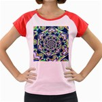 Power Spiral Polygon Blue Green White Women s Cap Sleeve T-Shirt Front