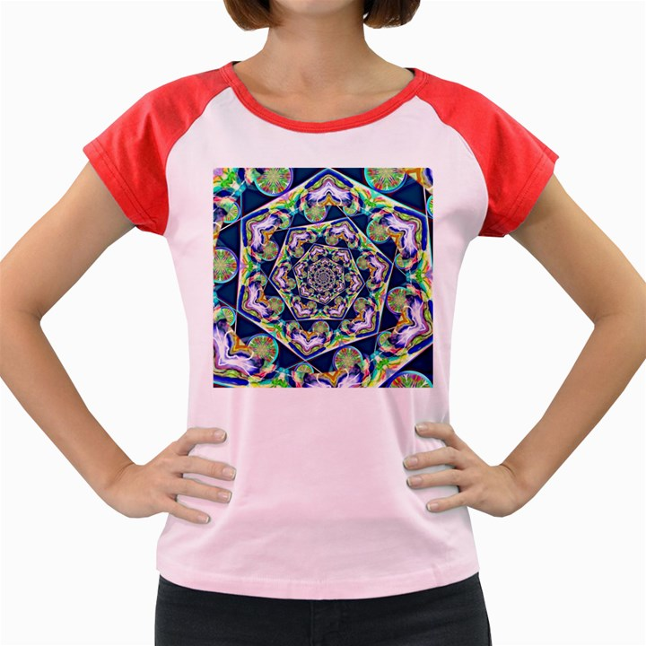 Power Spiral Polygon Blue Green White Women s Cap Sleeve T-Shirt