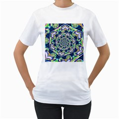 Power Spiral Polygon Blue Green White Women s T Shirt (white) (two Sided)