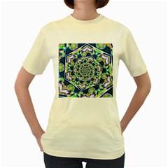 Power Spiral Polygon Blue Green White Women s Yellow T-Shirt