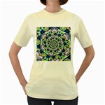 Power Spiral Polygon Blue Green White Women s Yellow T-Shirt Front