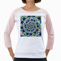 Power Spiral Polygon Blue Green White Girly Raglans
