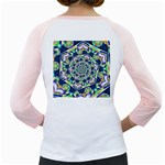 Power Spiral Polygon Blue Green White Girly Raglans Back