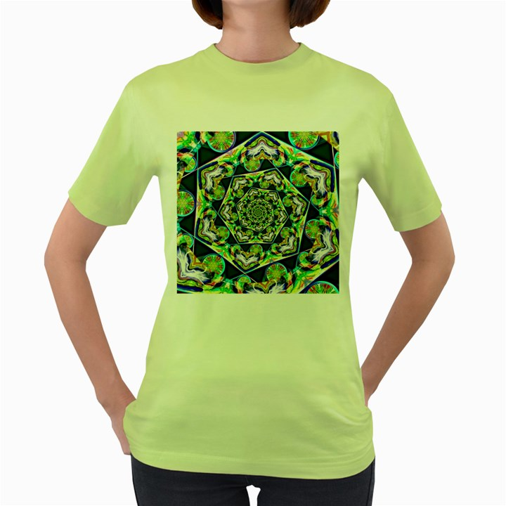 Power Spiral Polygon Blue Green White Women s Green T-Shirt
