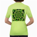 Power Spiral Polygon Blue Green White Women s Green T-Shirt Back