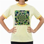 Power Spiral Polygon Blue Green White Women s Fitted Ringer T-Shirts Front
