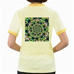 Power Spiral Polygon Blue Green White Women s Fitted Ringer T-Shirts Back