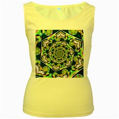 Power Spiral Polygon Blue Green White Women s Yellow Tank Top