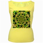 Power Spiral Polygon Blue Green White Women s Yellow Tank Top Front