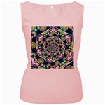 Power Spiral Polygon Blue Green White Women s Pink Tank Top Front