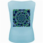Power Spiral Polygon Blue Green White Women s Baby Blue Tank Top Back