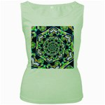 Power Spiral Polygon Blue Green White Women s Green Tank Top Front