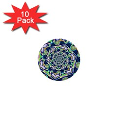 Power Spiral Polygon Blue Green White 1  Mini Buttons (10 pack)