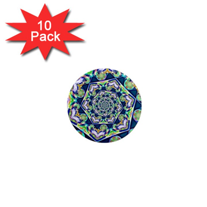 Power Spiral Polygon Blue Green White 1  Mini Magnet (10 pack)