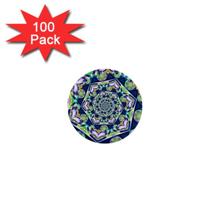 Power Spiral Polygon Blue Green White 1  Mini Buttons (100 pack)
